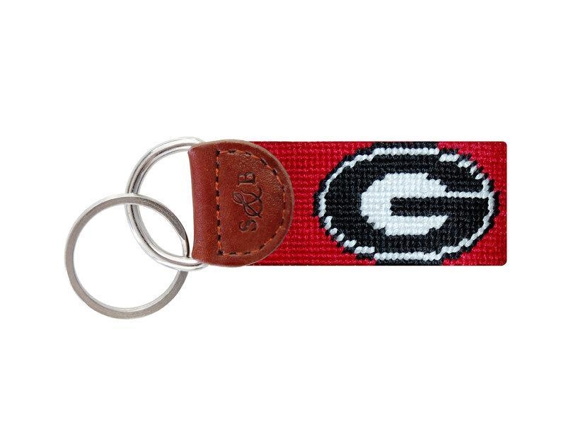 Smathers & Branson ACCESSORIES - KEY FOBS - COLLEGIATE Smathers & Branson, Georgia Needlepoint Key Fob, Red