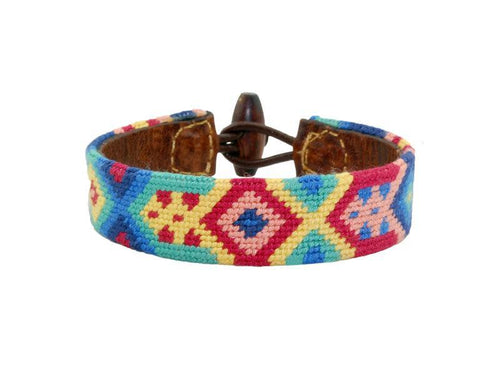Smathers & Branson ACCESSORIES - BRACELETS - LEATHER Smathers & Branson, Kaleidoscope Needlepoint Bracelet