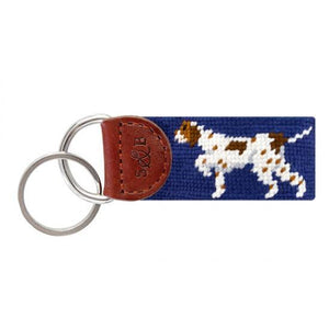 Smathers & Branson ACCESSORIES - KEY FOBS - SCENE Smathers & Branson, Pointer Needlepoint Key Fob, Classic Navy