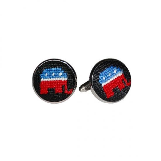Smathers & Branson ACCESSORIES - CUFFLINKS - SCENE Smathers & Branson, Republican Needlepoint Cufflinks