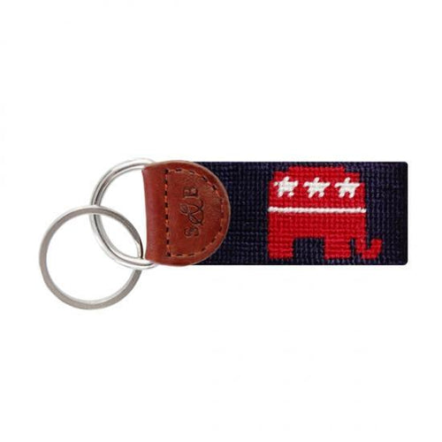 Smathers & Branson ACCESSORIES - KEY FOBS - SCENE Smathers & Branson, Republican Needlepoint Key Fob, Midnight Navy