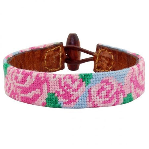 Smathers & Branson ACCESSORIES - BRACELETS - LEATHER Smathers & Branson, Rose Needlepoint Bracelet