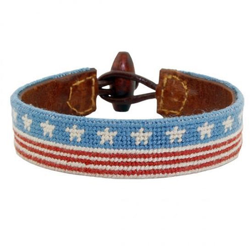 Smathers & Branson ACCESSORIES - BRACELETS - LEATHER Smathers & Branson, Stars and Stripes Needlepoint Bracelet