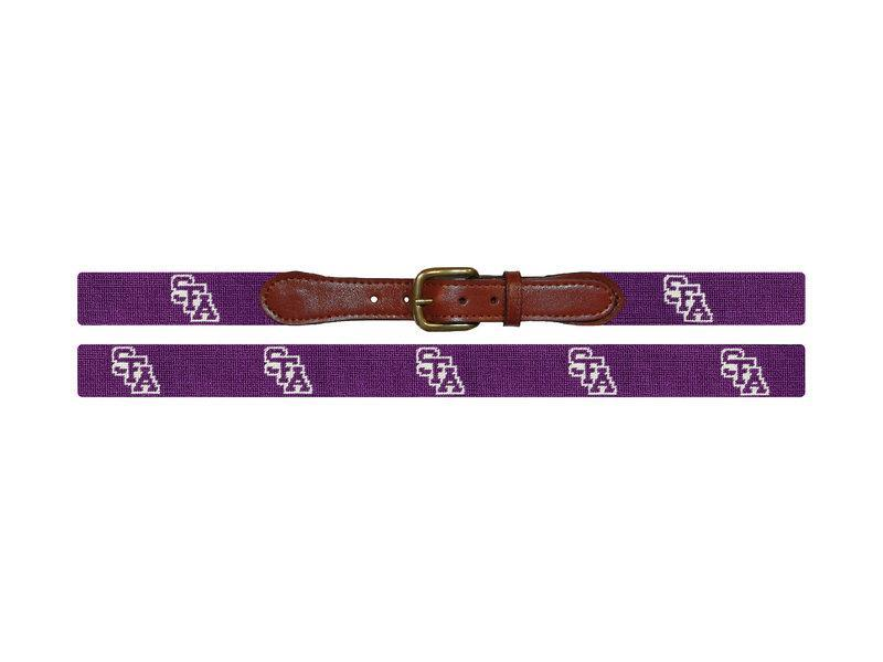 Smathers & Branson ACCESSORIES - BELTS - NEEDLEPOINT Smathers & Branson, Stephen F Austin Needlepoint Belt, Purple