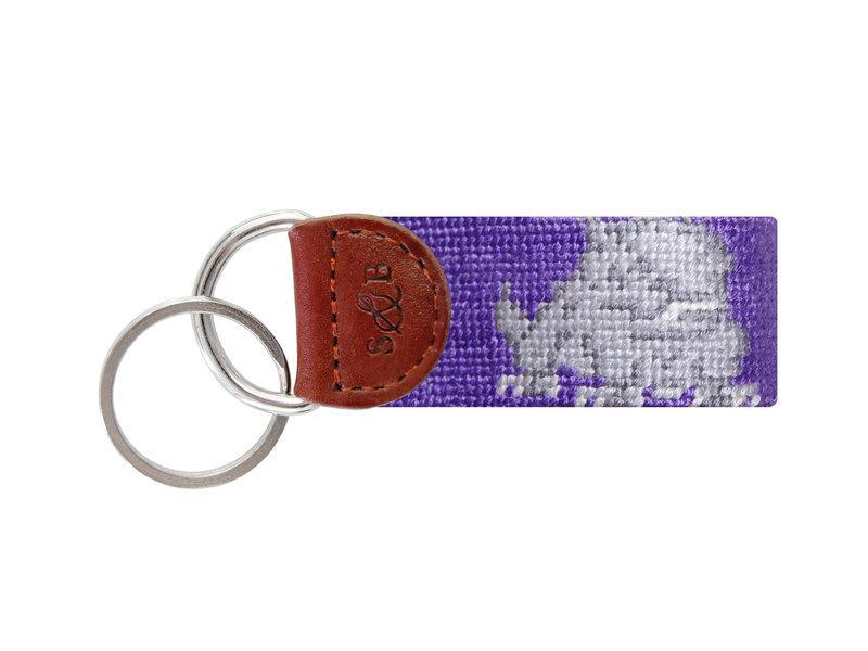 Smathers & Branson ACCESSORIES - KEY FOBS - COLLEGIATE Smathers & Branson, TCU Needlepoint Key Fob, Purple