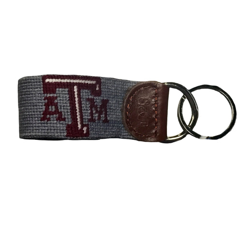 Smathers & Branson ACCESSORIES - KEY FOBS - COLLEGIATE Smathers & Branson, Texas A&M (Grey) Needlepoint Key Fob