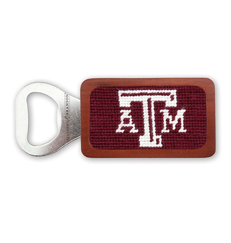 Smathers & Branson HOME - DRINKWARE - TOOLS Smathers & Branson, Texas A&M Needlepoint Bottle Opener, Maroon