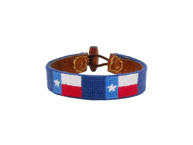 Smathers & Branson ACCESSORIES - BRACELETS - LEATHER Smathers & Branson, Texas Flag Needlepoint Bracelet