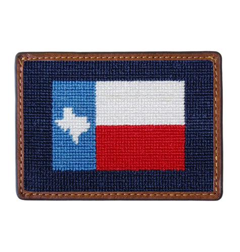 Smathers & Branson ACCESSORIES - WALLETS - CARD HOLDER Smathers & Branson, Texas Flag Needlepoint Card Wallet