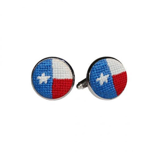 Smathers & Branson ACCESSORIES - CUFFLINKS - SCENE Smathers & Branson, Texas Flag Needlepoint Cufflinks