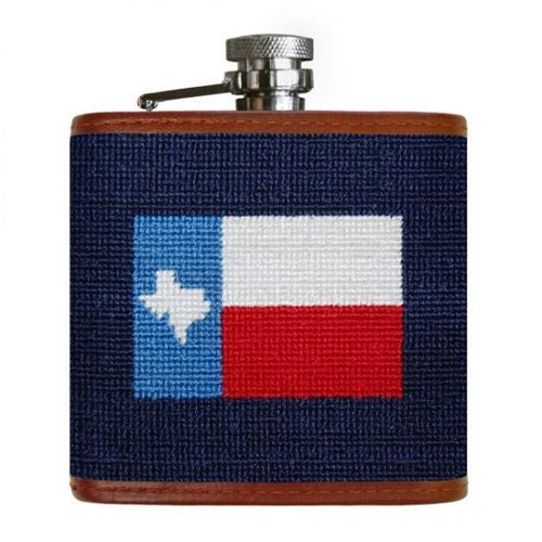 Smathers & Branson HOME - DRINKWARE - Flask Smathers & Branson, Texas Flag Needlepoint Flask