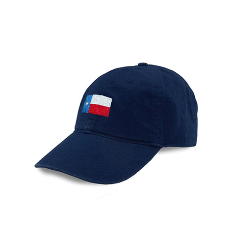Smathers & Branson ACCESSORIES - HATS - BASEBALL Smathers & Branson, Texas Flag Needlepoint Hat. Navy