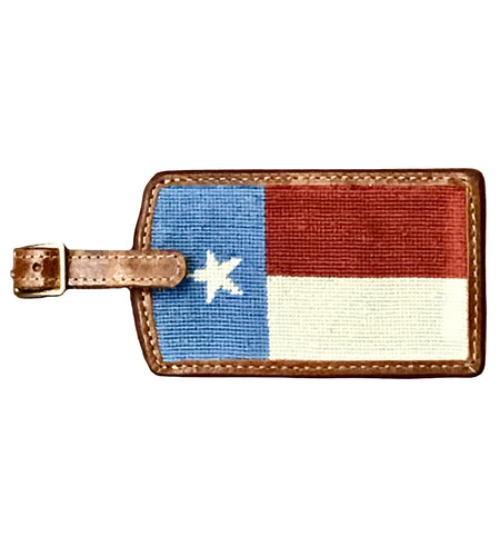 Smathers & Branson ACCESSORIES - TRAVEL - LUGGAGE TAGS Smathers & Branson, Texas Flag Stars and Stripes Needlepoint Luggage Tag