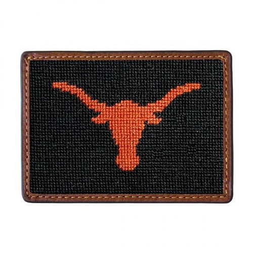 Smathers & Branson ACCESSORIES - WALLETS - CARD HOLDER Smathers & Branson, University of Texas Needlepoint Card Wallet, Black
