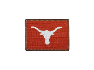 Smathers & Branson ACCESSORIES - WALLETS - CARD HOLDER Smathers & Branson, University of Texas Needlepoint Card Wallet, Burnt Orange