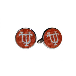 Smathers & Branson ACCESSORIES - CUFFLINKS - COLLEGIATE Smathers & Branson, University of Texas Needlepoint Cufflinks, Burnt Orange