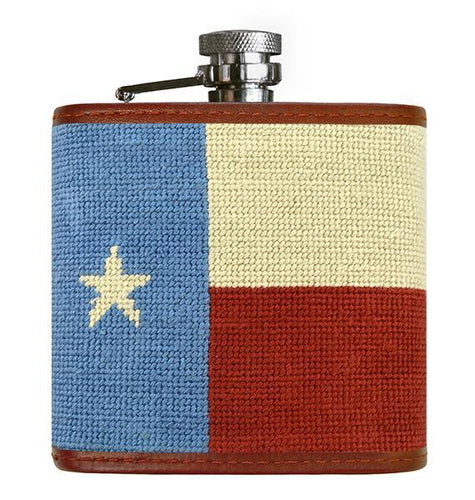Smathers & Branson ACCESSORIES - FLASK - NEEDLEPOINT Smathers & Branson, Vintage Texas Flag Needlepoint Flask
