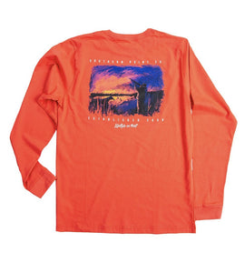 Southern Point Co MEN - SHIRTS - LONG SLEEVE T-SHIRTS Southern Point, Sunrise Long Sleeve T-Shirt, Red