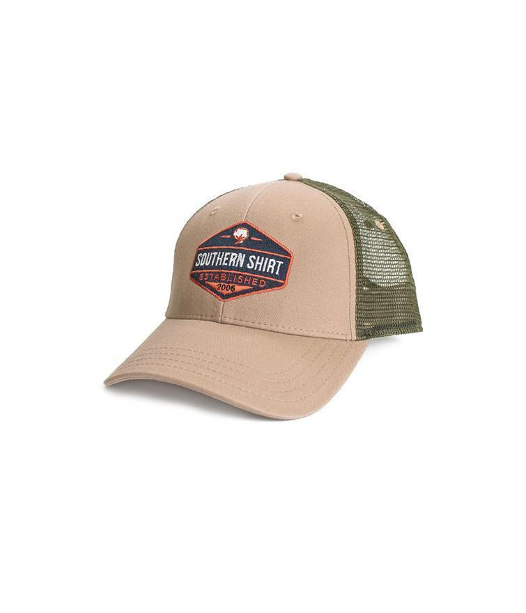 Southern Shirt ACCESSORIES - HATS - TRUCKER Southern Shirt, Trademark Badge Mesh Hat, Khaki/Surplus
