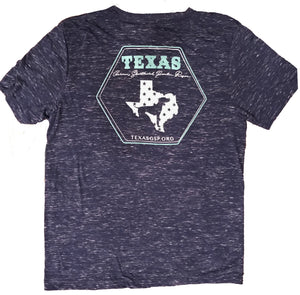 Texas GSP Rescue WOMEN - SHIRTS - SHORT SLEEVE TEES Texas GSP Rescue, Heathered Texas V-Neck T-Shirt, Navy and Mint