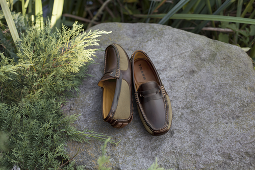 Trask FOOTWEAR - LOAFERS Trask, Derek, American Steer/Waxed Canvas, Cognac