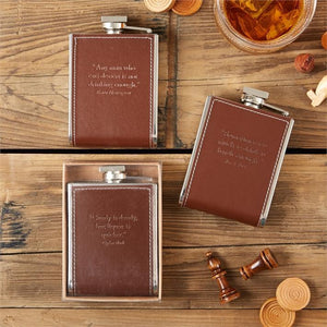 Two's Company HOME - DRINKWARE - Flask Two's Company, 6 oz Embossed Flask with Quotation