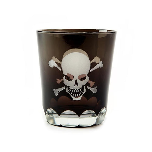 Two's Company HOME - DRINKWARE - WHISKEY GLASS Two's Company, Skellington Skull and Crossbones Double Old Fashion Glass