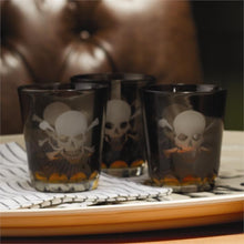Load image into Gallery viewer, Two's Company HOME - DRINKWARE - WHISKEY GLASS Two's Company, Skellington Skull and Crossbones Double Old Fashion Glass