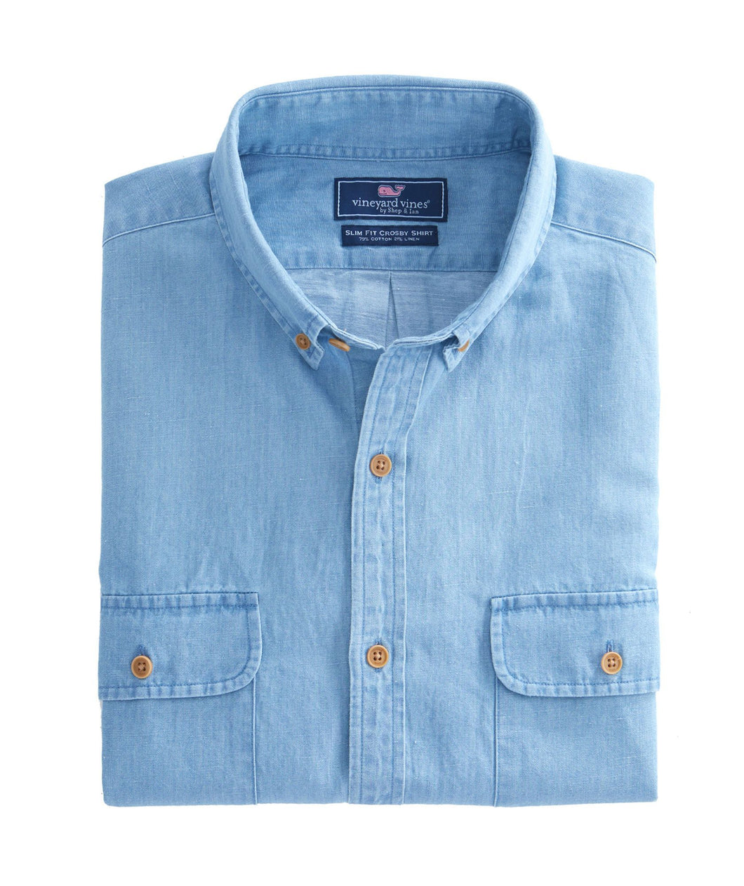 Vineyard Vines MEN - SHIRTS - DRESS SHIRTS Vineyard Vines, Baughers Solid Chambray Two Pocket Slim Crosby Shirt, Cloud