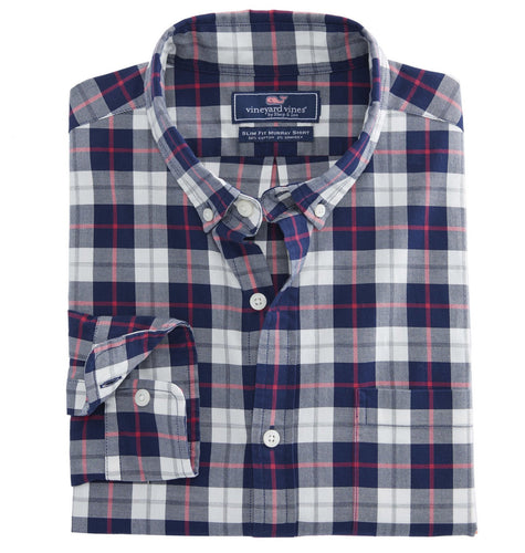 Vineyard Vines MEN - SHIRTS - BUTTON DOWNS Vineyard Vines, Riverbank Plaid Slim Murray Shirt, Katama Bay