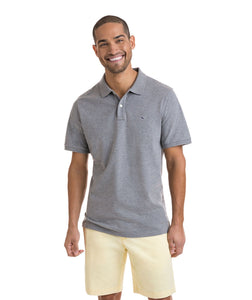 Vineyard Vines MEN - SHIRTS - POLOS Vineyard Vines, Stretch Pique Heather Polo, Gray Heather