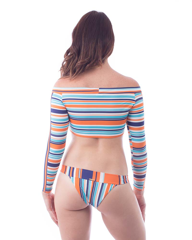 ORANGE STRIPES SURFER TOP BY MAR DALI