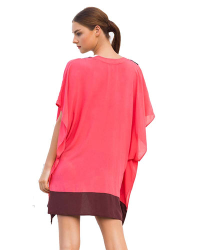 PINK FLAMINGO COLORBLOCK COVER UP TOUCHE 0A46072