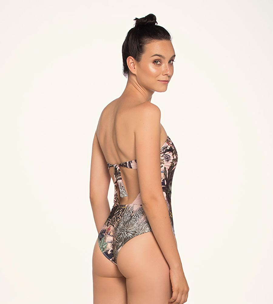 416099a1703e3 JUNGLE FEVER BANDEAU ONE PIECE BY TOUCHE - Kayokoko Swimwear USA