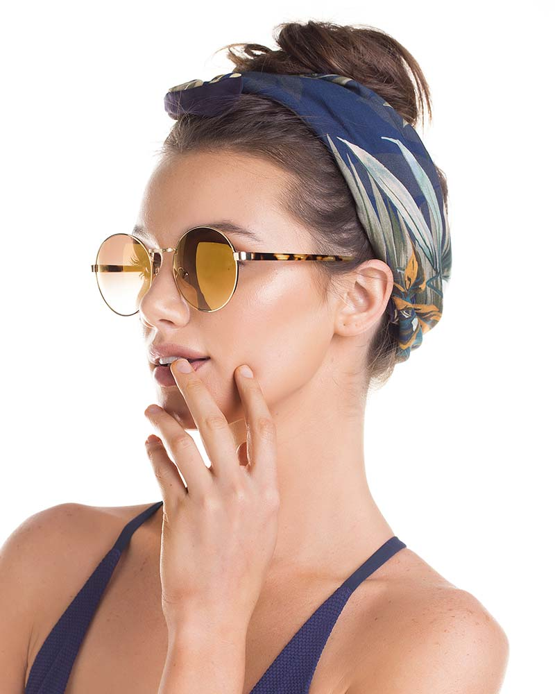 GOLD LENS CIRCULAR SUNGLASSES TOUCHE 0S50083