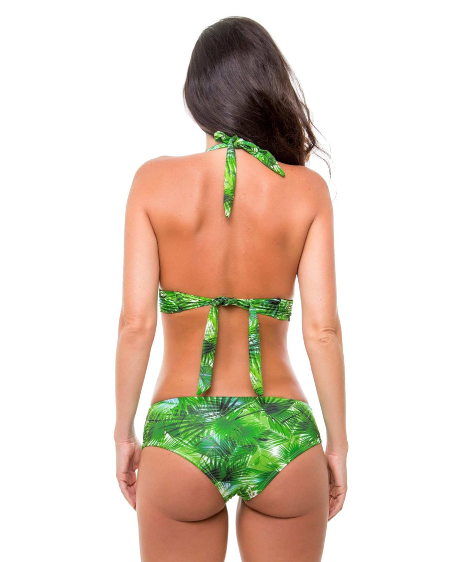 TROPICAL LEAVES HALTER TOP BY ZUE SWIMWEAR