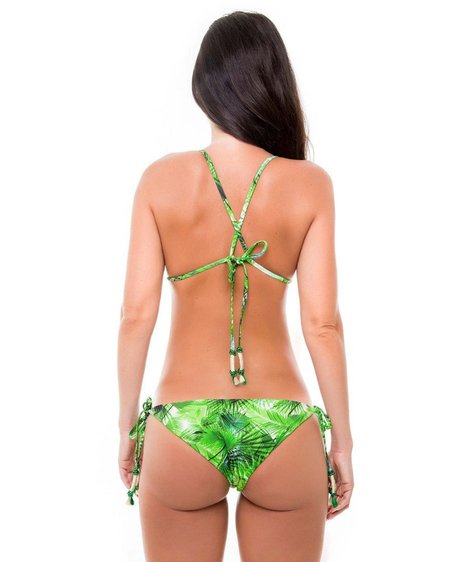 TROPICAL LEAVES TRIANGLE TOP BY ZUE SWIMWEAR