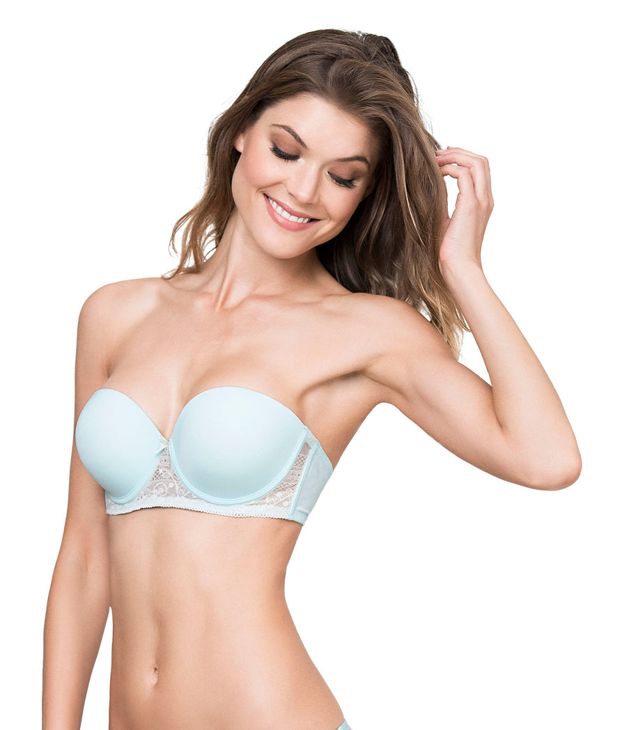 LIGHT BLUE ROMANTIC STRAPLESS BRA KIBYS 10661.BLU