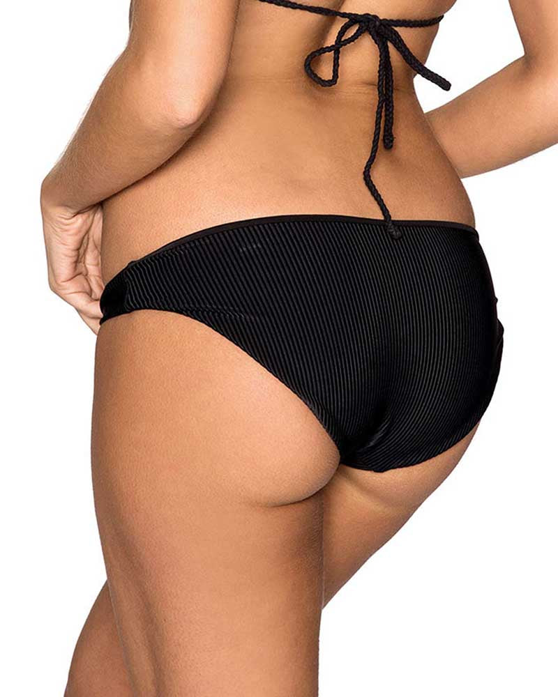 BLACK SHEA RIBBED BOTTOM FRANKIES BIKINIS 11116-BLK