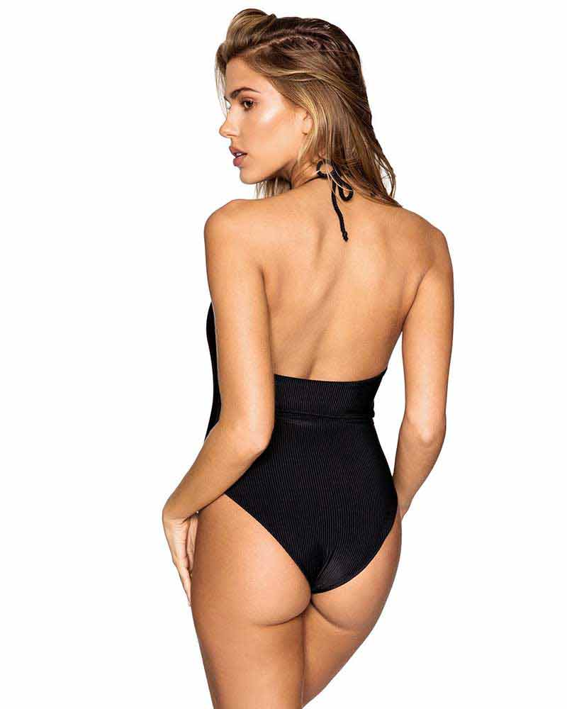 BLACK LILY RIBBED ONE PIECE FRANKIES BIKINIS 12104-BLK