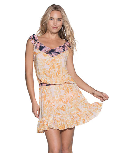 PEACH FLOWERS SHORT DRESS MAAJI 1477CSD01