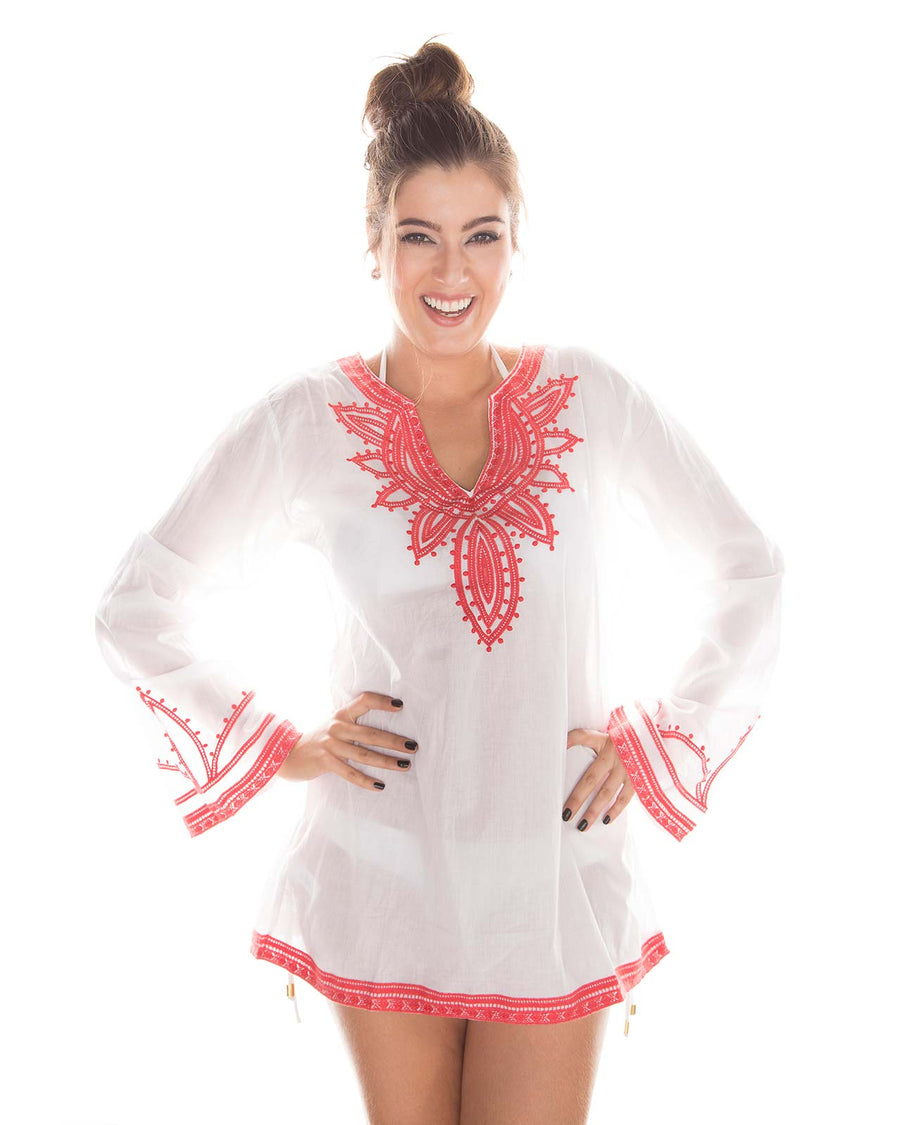 CORAL EMBROIDERED TUNIC BY PRAIAVE
