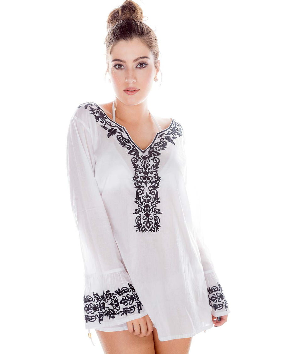 BLACK EMBROIDERED TUNIC PRAIAVE 1534