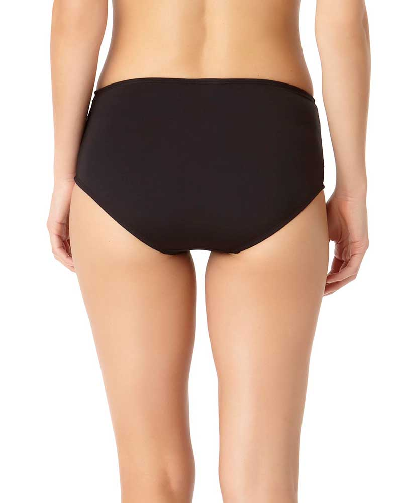 RICH BLACK SHIRRED HIGH WAIST BIKINI BOTTOM BY COLE OF CALIFORNIA