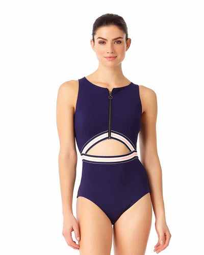 ELASTIC SOLIDS NAVY HIGH NECK ONE PIECE ANNE COLE 18LO00301-NAVY
