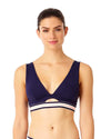ELASTIC SOLIDS NAVY ELONGATED TRIANGLE BIKINI TOP ANNE COLE 18LT10001-NAVY