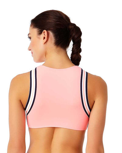 ELASTIC SOLIDS HOT TAMALE HIGH NECK CROP TOP ANNE COLE 18LT10101-COR