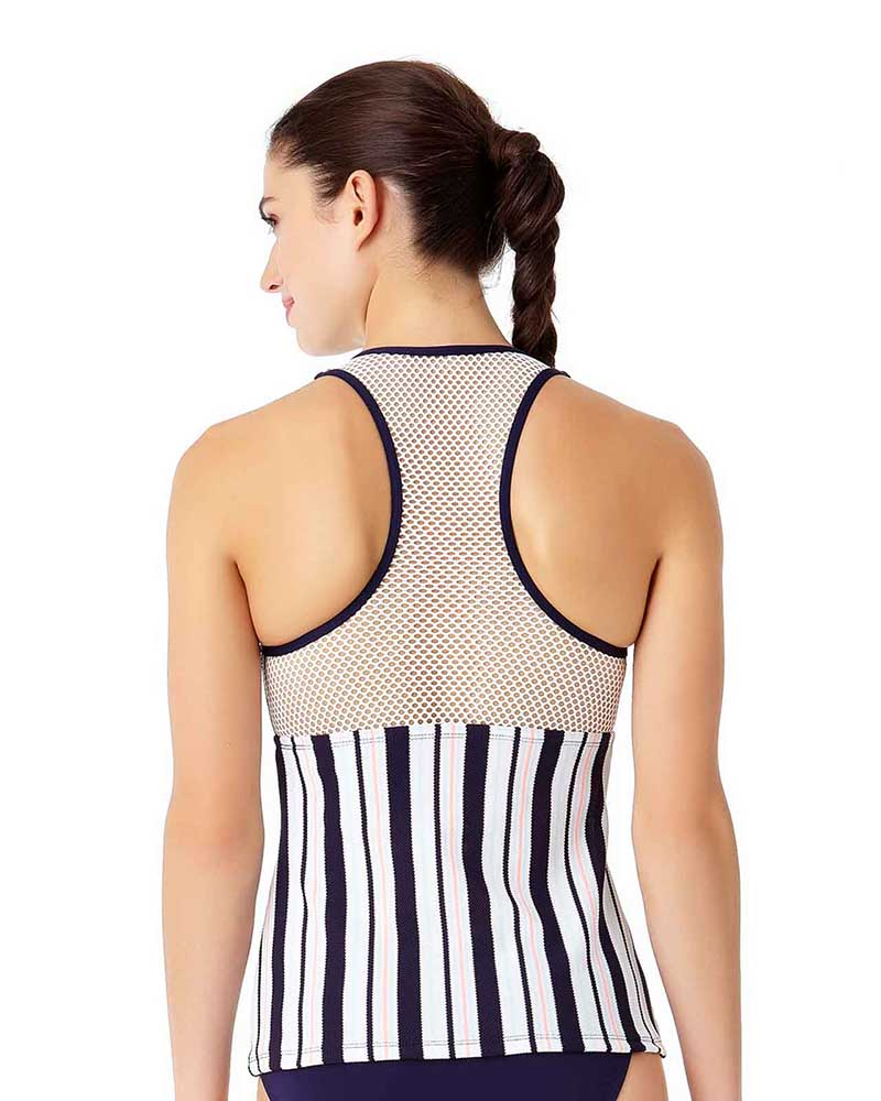 SNAP OUT OF IT RACER MESH BACK TANKINI TOP BY ANNE COLE