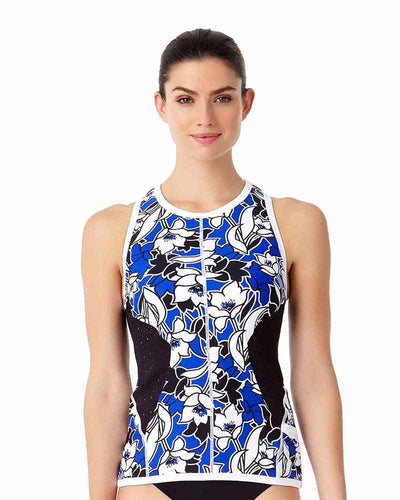 HAWAIIAN PUNCH HIGH NECK TANKINI TOP ANNE COLE 18LT20980-MULT