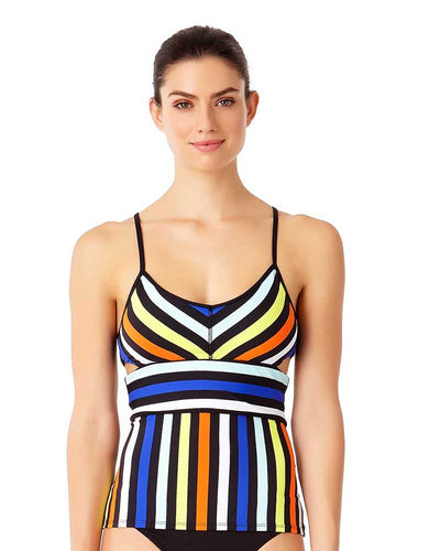 STRIPE OUT BRALETTE TANKINI TOP ANNE COLE 18LT21285-MULT
